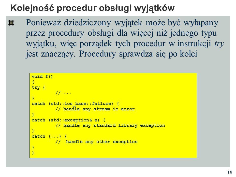 Kolejność procedur obsługi wyjątków
