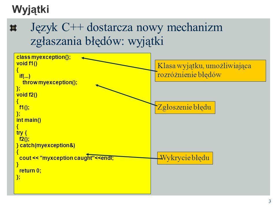 Język C++ dostarcza nowy mechanizm zgłaszania błędów: wyjątki
