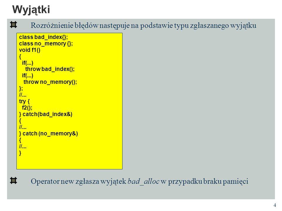 Wyjątki Rozróżnienie błędów następuje na podstawie typu zgłaszanego wyjątku. Operator new zgłasza wyjątek bad_alloc w przypadku braku pamięci.