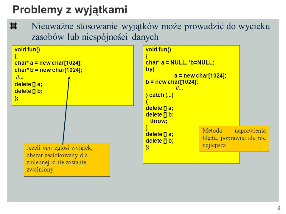 Problemy z wyjątkami Nieuważne stosowanie wyjątków może prowadzić do wycieku zasobów lub niespójności danych.