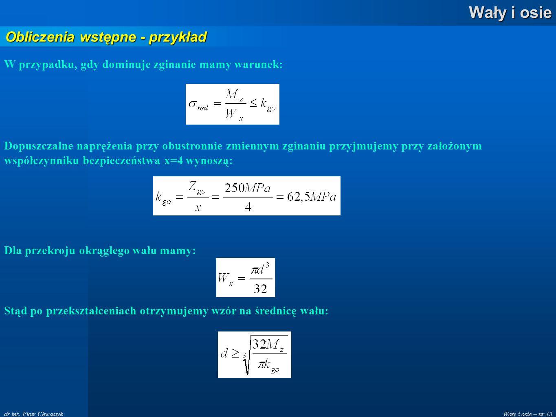 Obliczenia wstępne - przykład