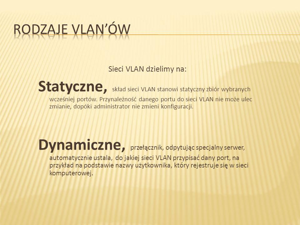 Sieci VLAN dzielimy na: