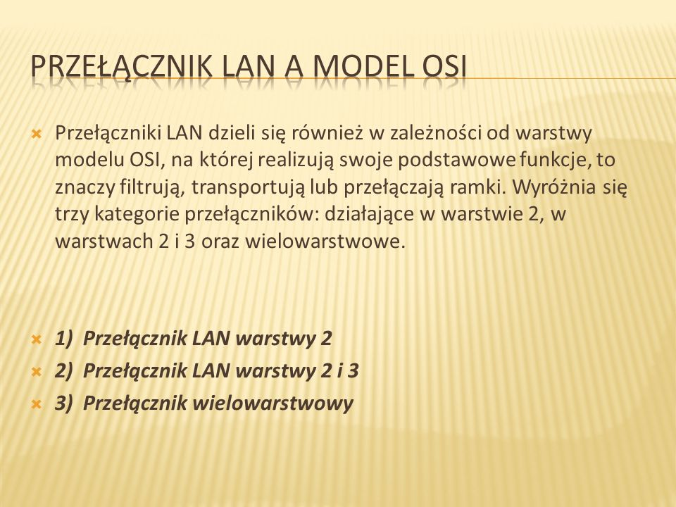 Przełącznik LAN a model OSI