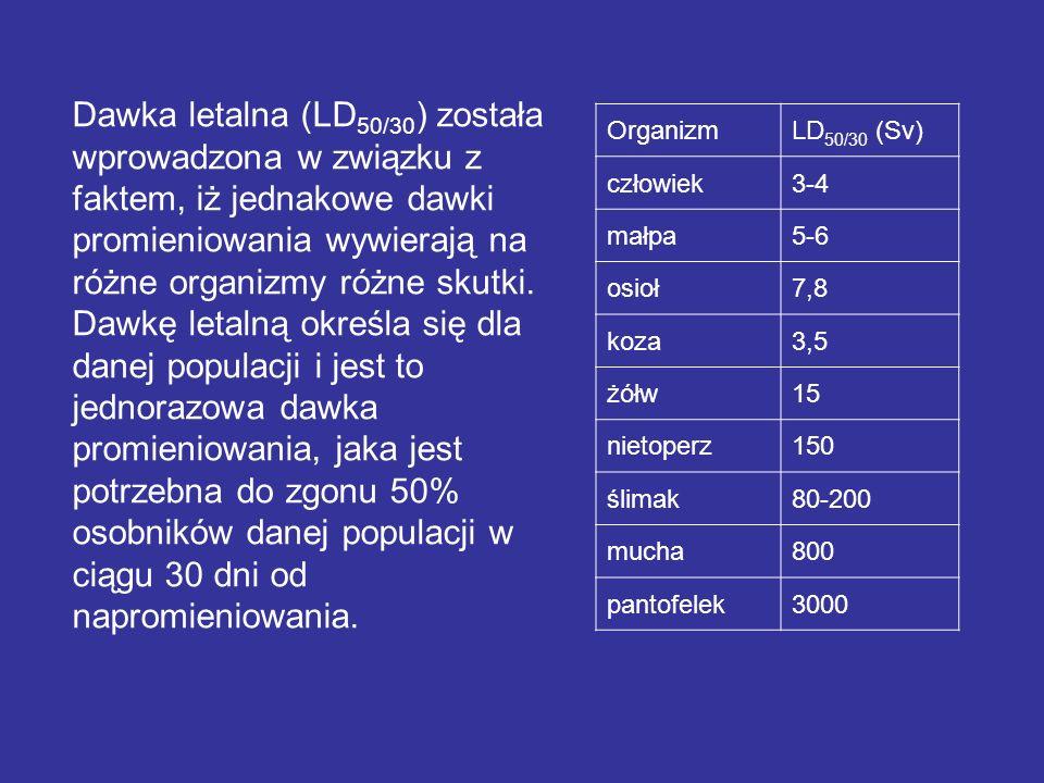 Dawka letalna (LD50/30) została wprowadzona w związku z faktem, iż jednakowe dawki promieniowania wywierają na różne organizmy różne skutki. Dawkę letalną określa się dla danej populacji i jest to jednorazowa dawka promieniowania, jaka jest potrzebna do zgonu 50% osobników danej populacji w ciągu 30 dni od napromieniowania.