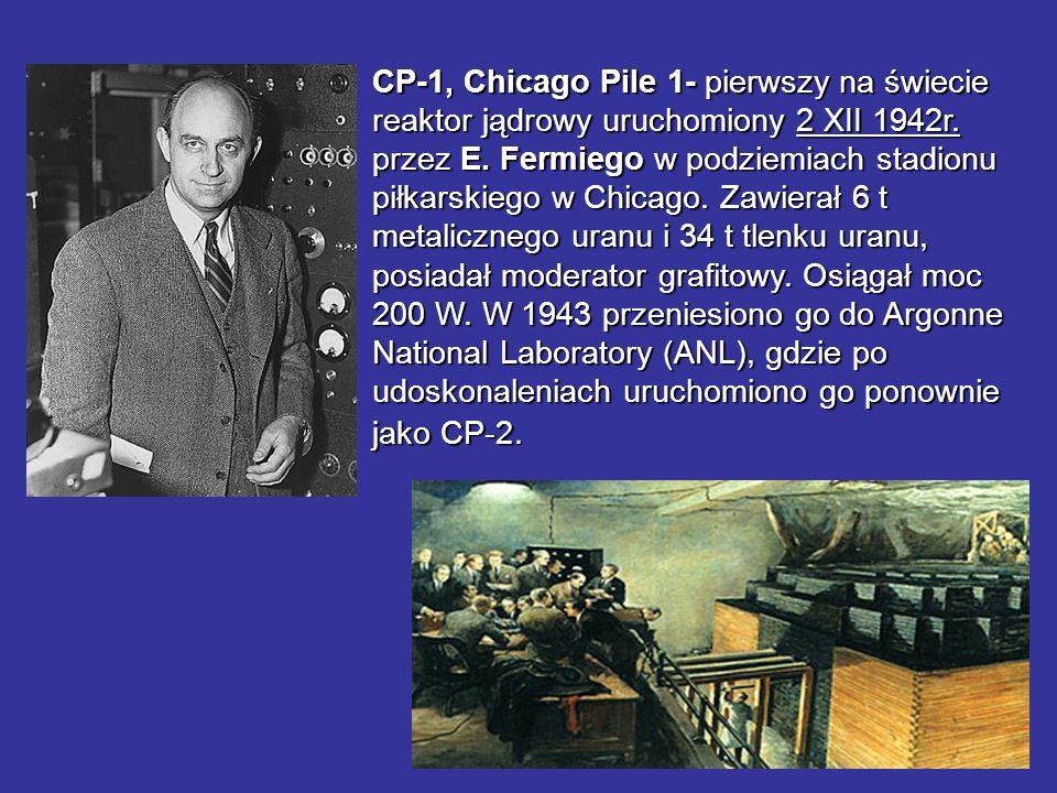 CP-1, Chicago Pile 1- pierwszy na świecie reaktor jądrowy uruchomiony 2 XII 1942r.