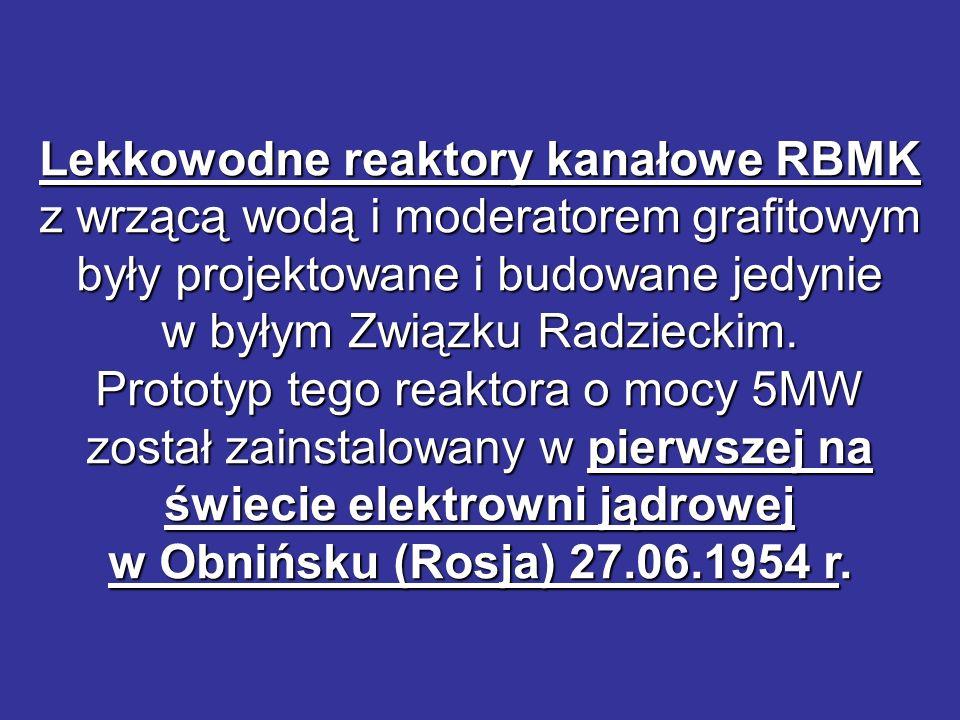 Lekkowodne reaktory kanałowe RBMK z wrzącą wodą i moderatorem grafitowym były projektowane i budowane jedynie w byłym Związku Radzieckim.