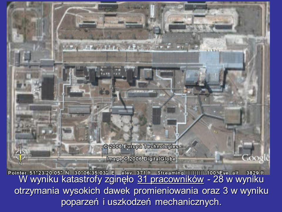 W wyniku katastrofy zginęło 31 pracowników - 28 w wyniku otrzymania wysokich dawek promieniowania oraz 3 w wyniku poparzeń i uszkodzeń mechanicznych.