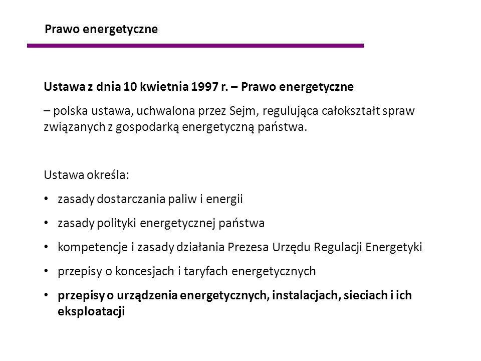 Prawo energetyczne Ustawa z dnia 10 kwietnia 1997 r. – Prawo energetyczne.