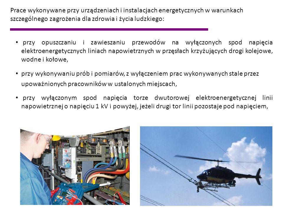 Prace wykonywane przy urządzeniach i instalacjach energetycznych w warunkach szczególnego zagrożenia dla zdrowia i życia ludzkiego: