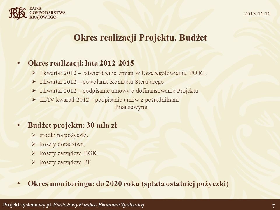 Projekt systemowy pt. Pilotażowy Fundusz Ekonomii Społecznej
