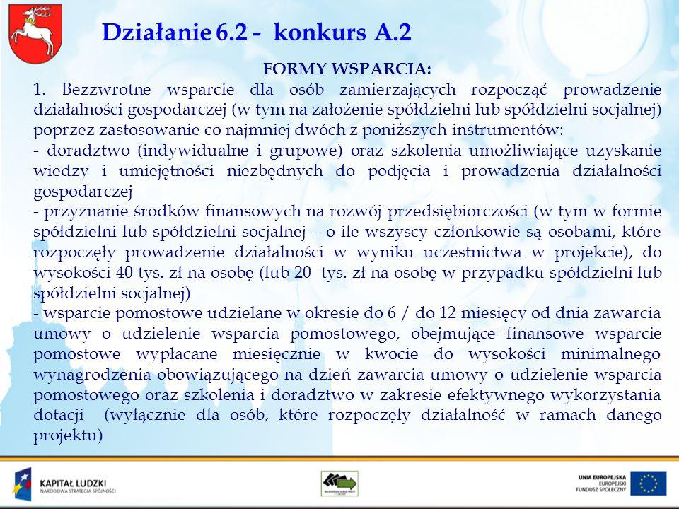 Działanie 6.2 - konkurs A.2 FORMY WSPARCIA: