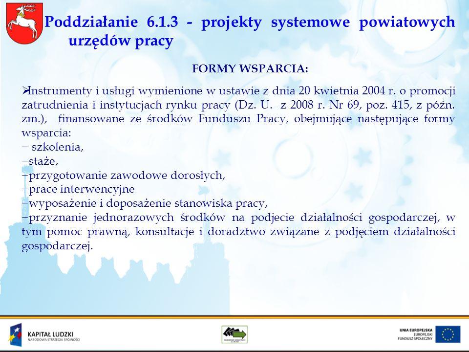Poddziałanie 6.1.3 - projekty systemowe powiatowych urzędów pracy