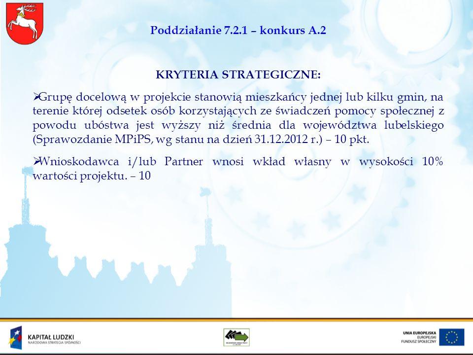 Poddziałanie 7.2.1 – konkurs A.2 KRYTERIA STRATEGICZNE: