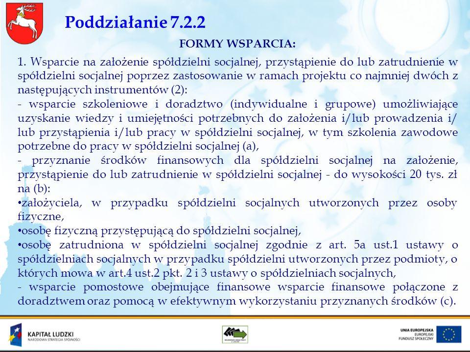 Poddziałanie 7.2.2 FORMY WSPARCIA: