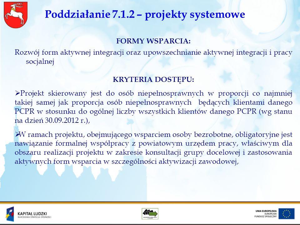 Poddziałanie 7.1.2 – projekty systemowe