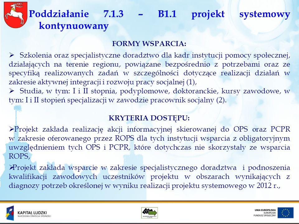 Poddziałanie 7.1.3 – B1.1 projekt systemowy kontynuowany