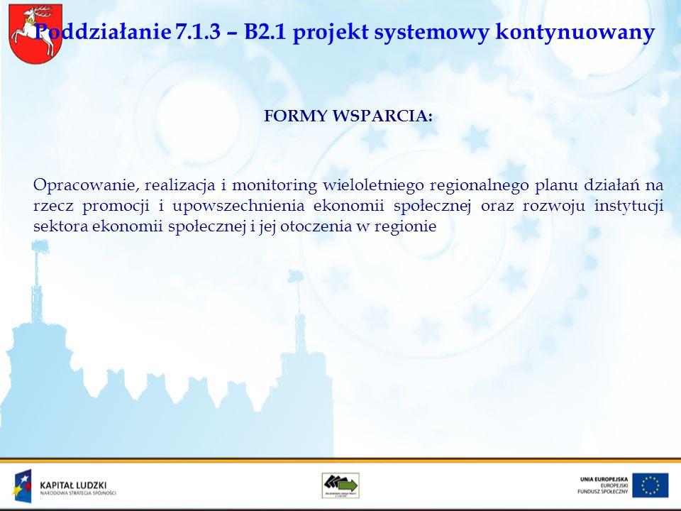 Poddziałanie 7.1.3 – B2.1 projekt systemowy kontynuowany