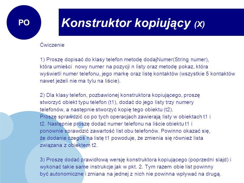 Konstruktor kopiujący (X)