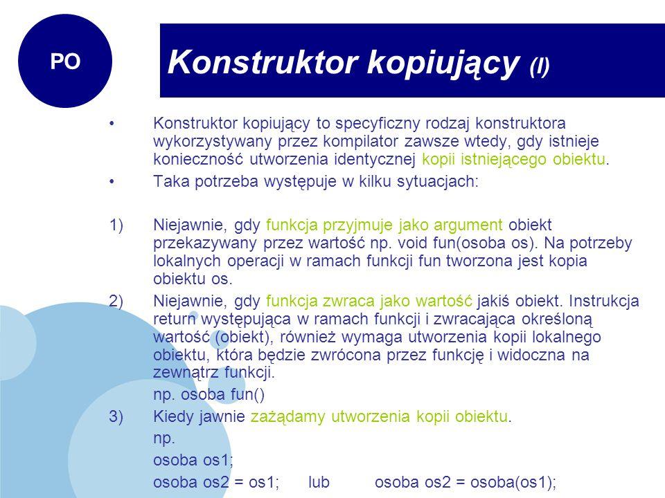 Konstruktor kopiujący (I)
