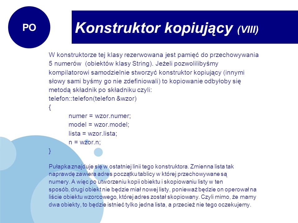 Konstruktor kopiujący (VIII)
