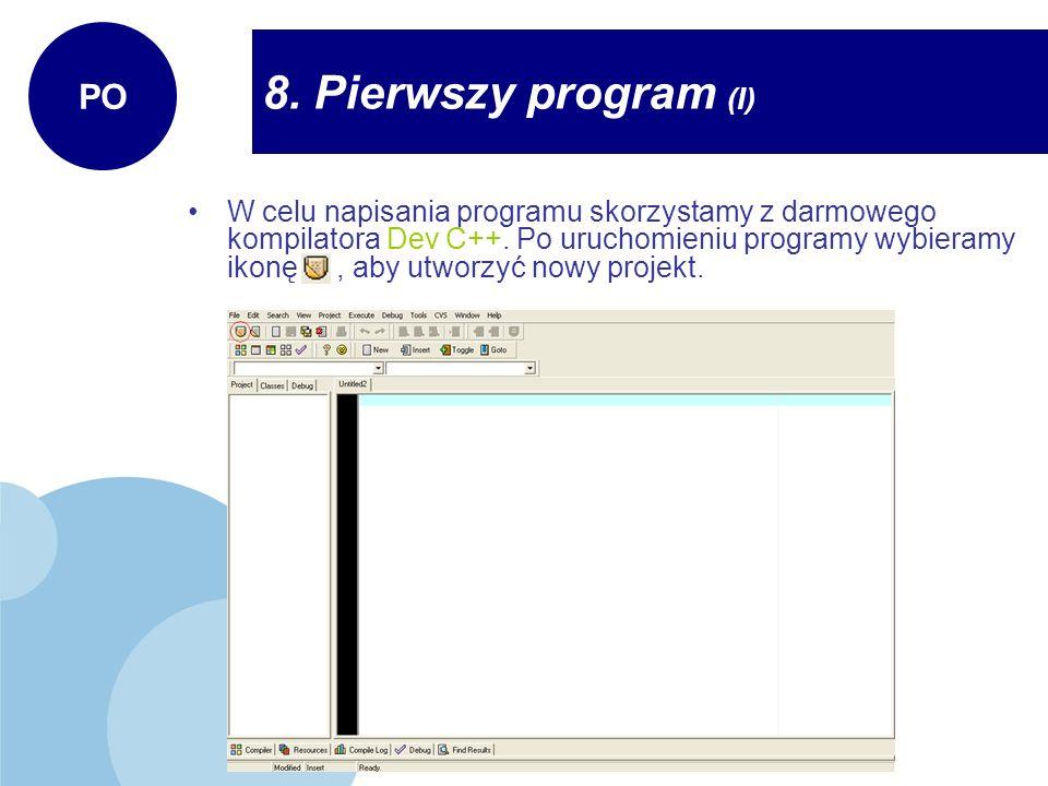 8. Pierwszy program (I) PO