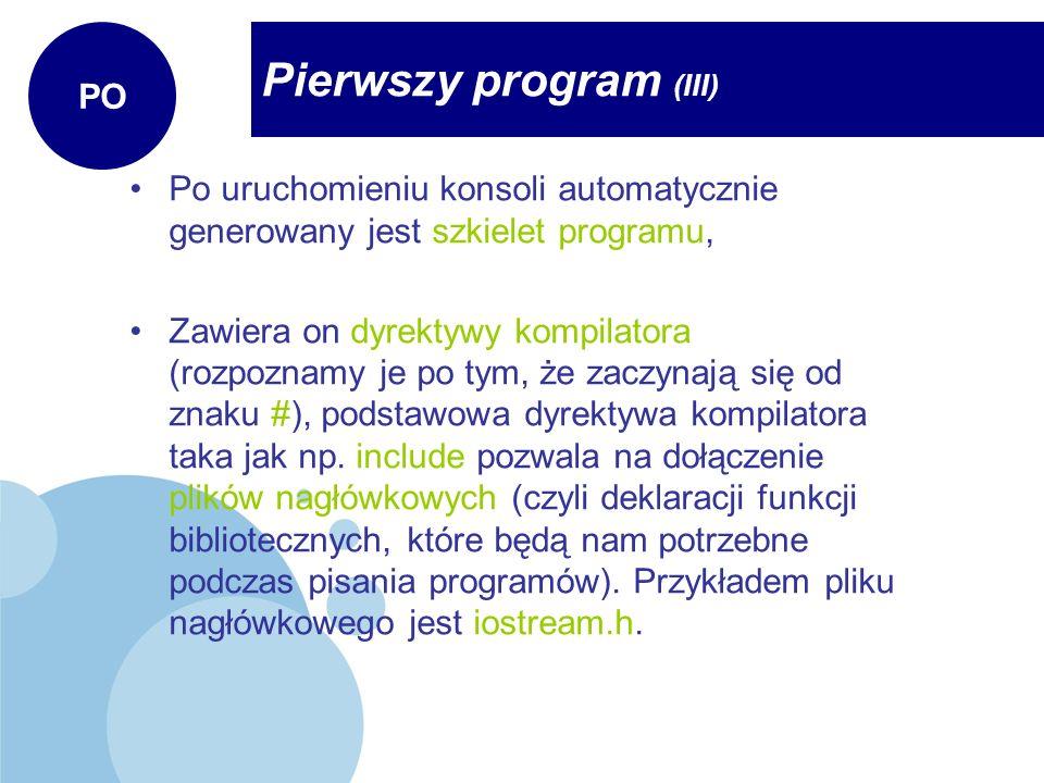 Pierwszy program (III)