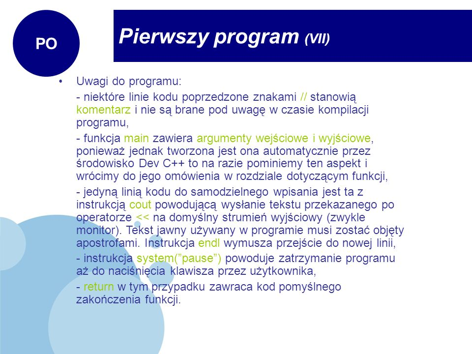 Pierwszy program (VII)