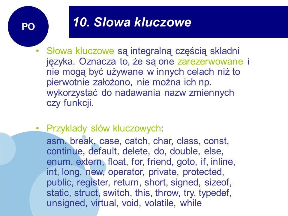 PO 10. Slowa kluczowe.