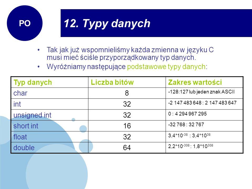 PO 12. Typy danych. Tak jak już wspomnieliśmy każda zmienna w języku C musi mieć ściśle przyporządkowany typ danych.