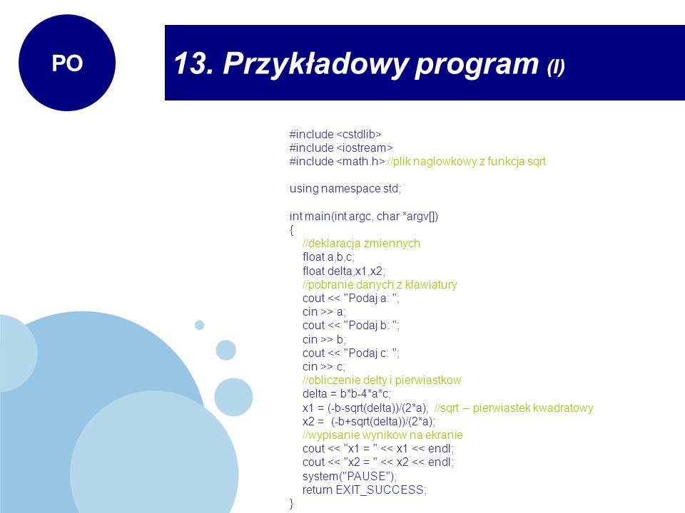 13. Przykładowy program (I)