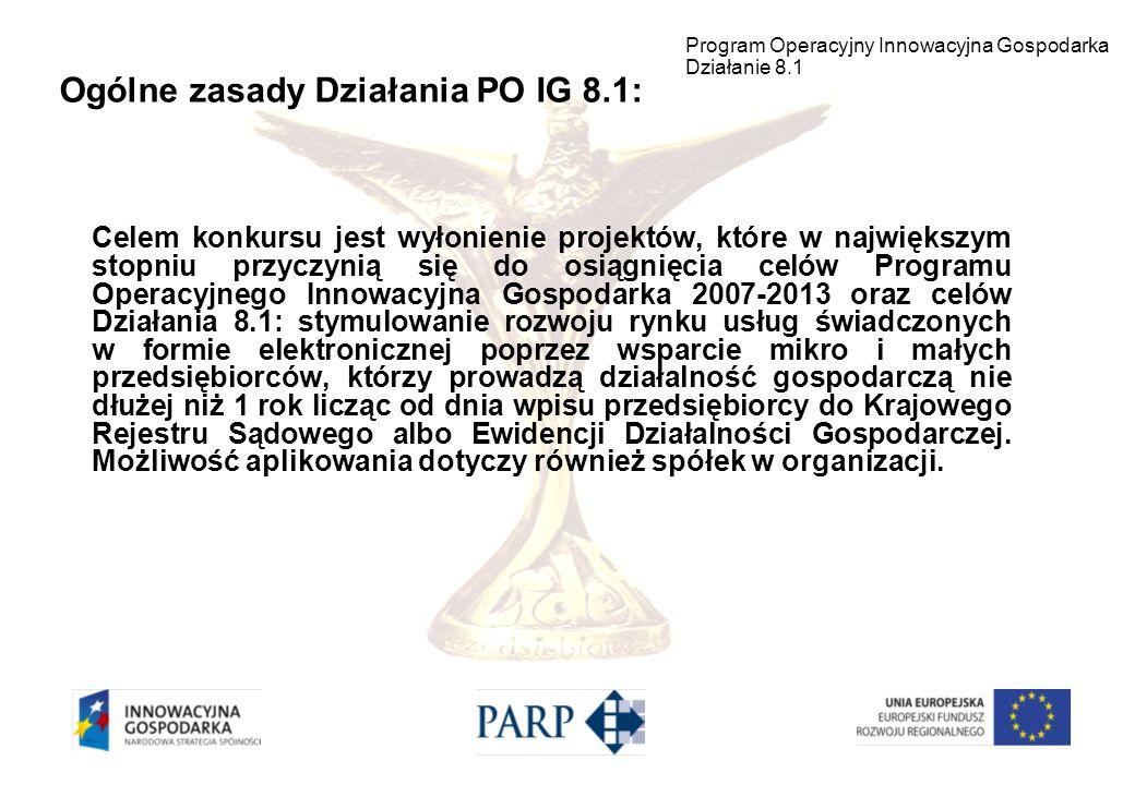 Ogólne zasady Działania PO IG 8.1: