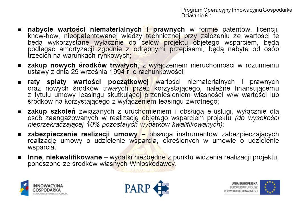 Program Operacyjny Innowacyjna Gospodarka Działanie 8.1
