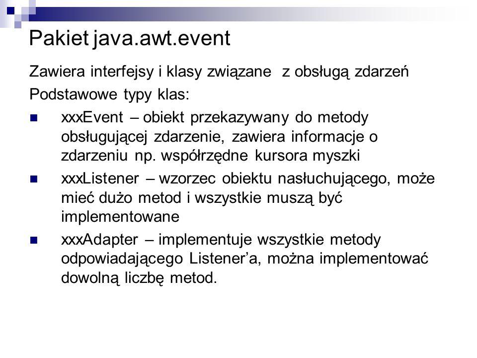 Pakiet java.awt.event Zawiera interfejsy i klasy związane z obsługą zdarzeń. Podstawowe typy klas: