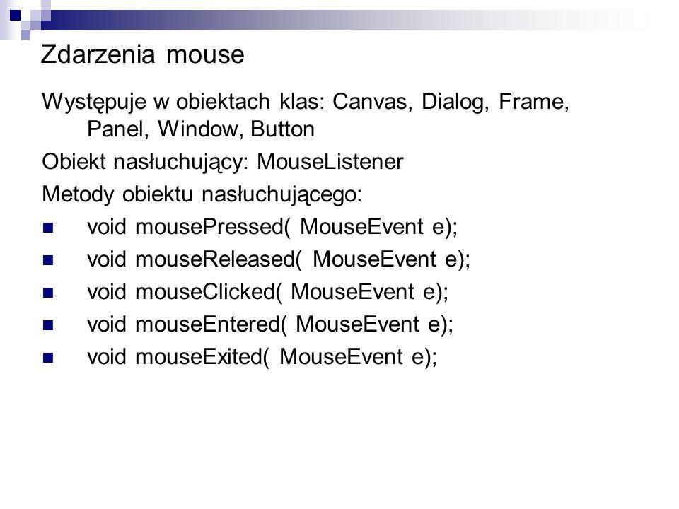 Zdarzenia mouse Występuje w obiektach klas: Canvas, Dialog, Frame, Panel, Window, Button. Obiekt nasłuchujący: MouseListener.