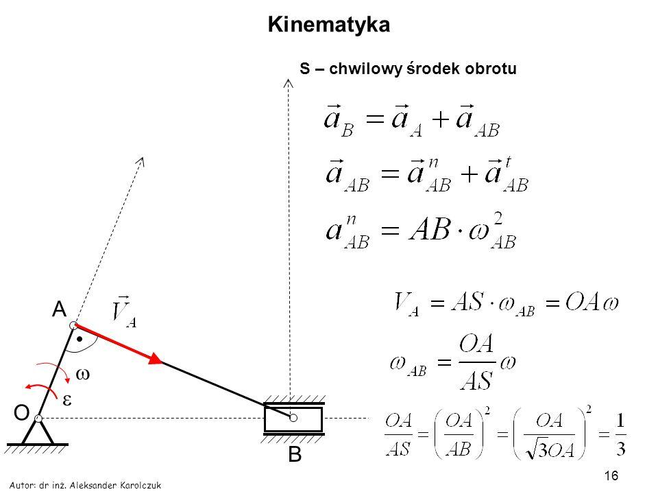 Kinematyka A w e O B S – chwilowy środek obrotu
