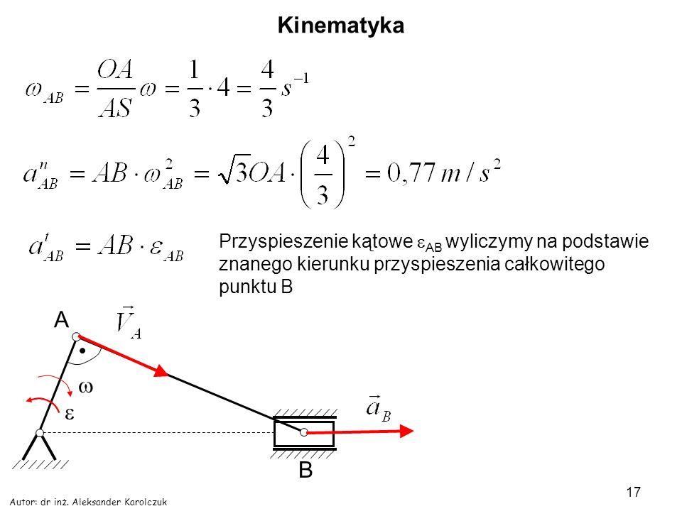 Kinematyka Przyspieszenie kątowe AB wyliczymy na podstawie znanego kierunku przyspieszenia całkowitego punktu B.