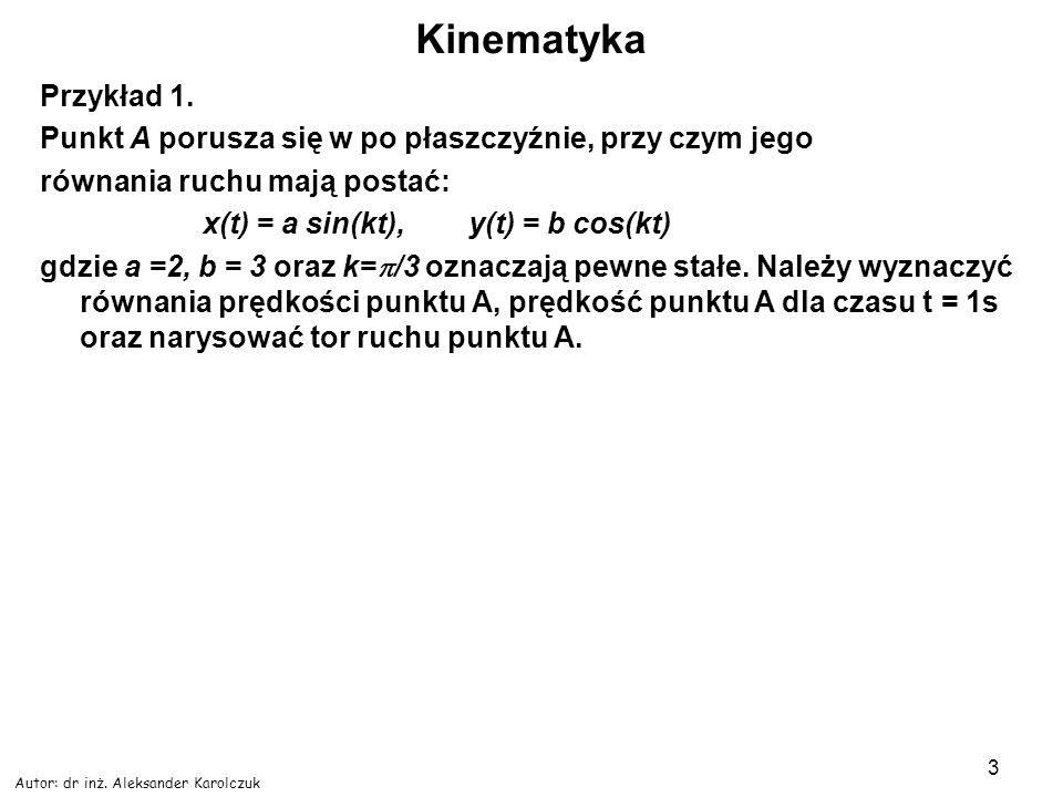 Kinematyka Przykład 1. Punkt A porusza się w po płaszczyźnie, przy czym jego. równania ruchu mają postać: