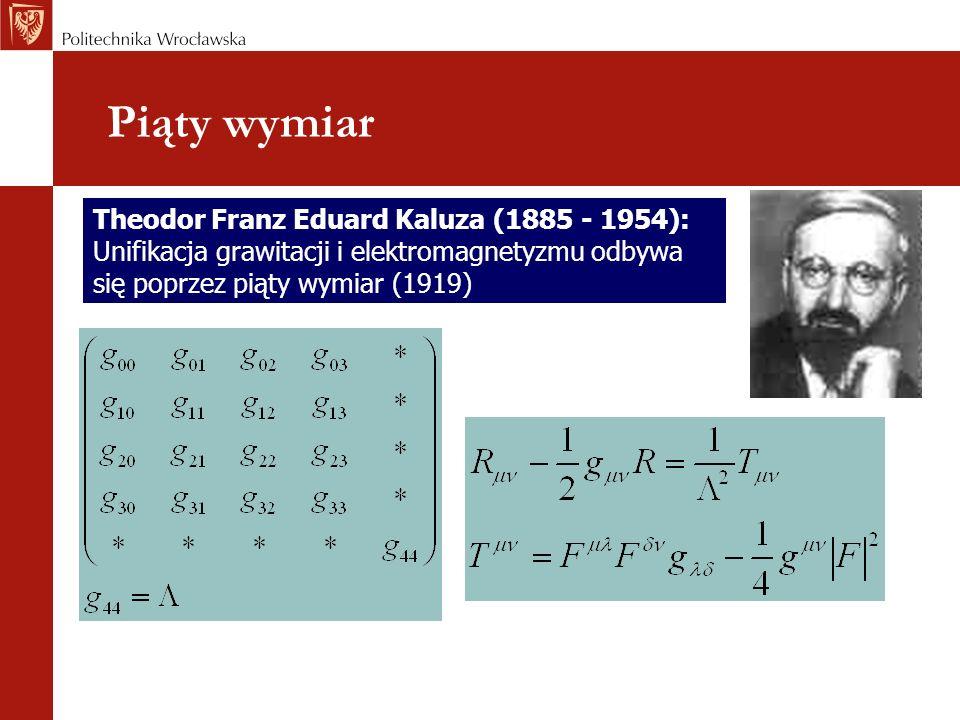 Piąty wymiar Theodor Franz Eduard Kaluza (1885 - 1954):
