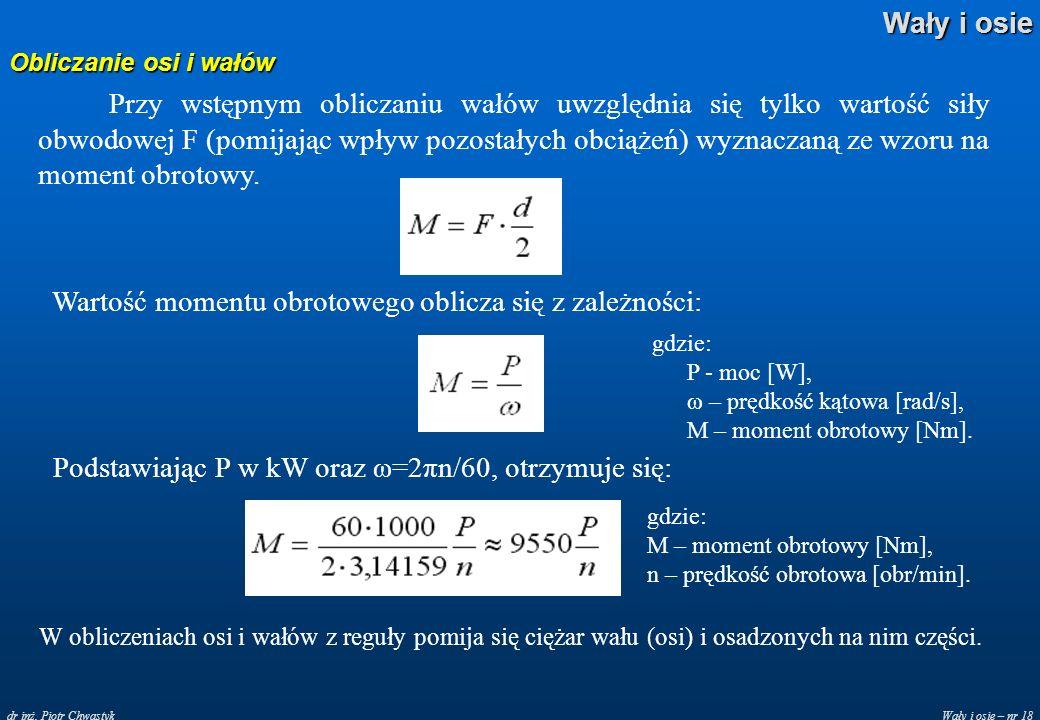 Wartość momentu obrotowego oblicza się z zależności: