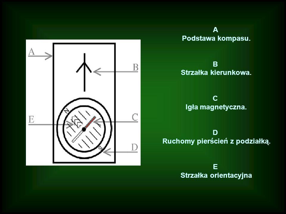 Ruchomy pierścień z podziałką. Strzałka orientacyjna