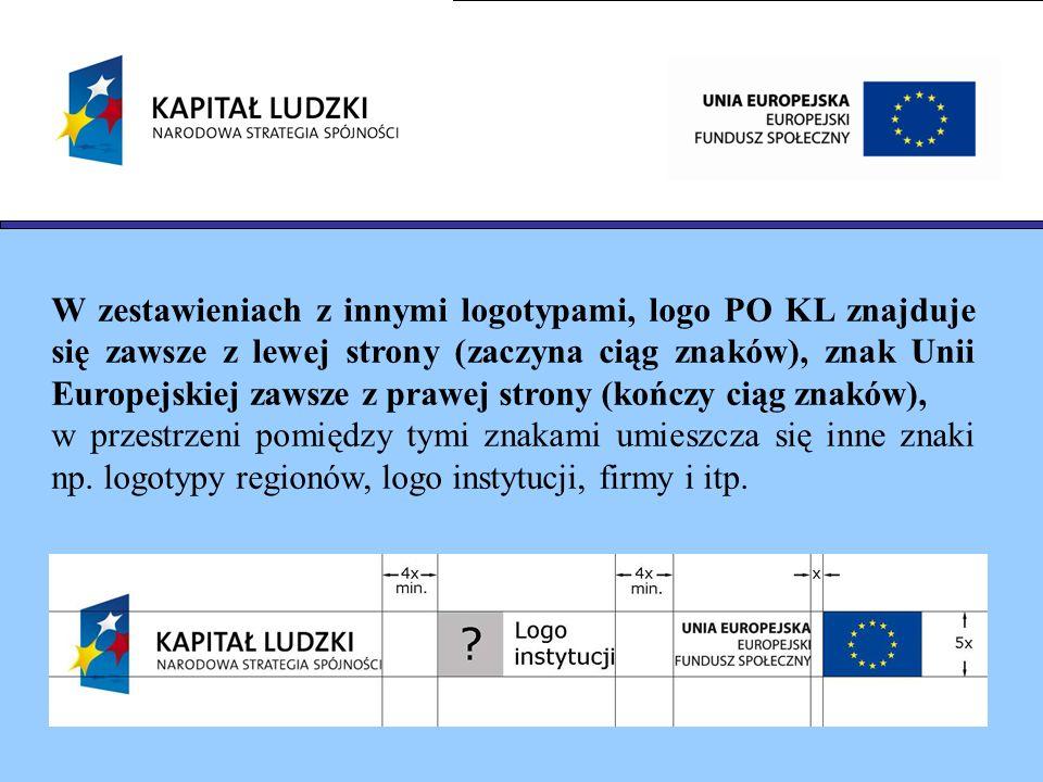 W zestawieniach z innymi logotypami, logo PO KL znajduje się zawsze z lewej strony (zaczyna ciąg znaków), znak Unii Europejskiej zawsze z prawej strony (kończy ciąg znaków),