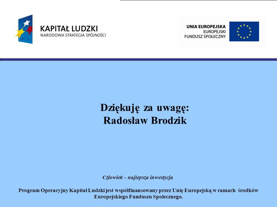 Dziękuję za uwagę: Radosław Brodzik Człowiek – najlepsza inwestycja