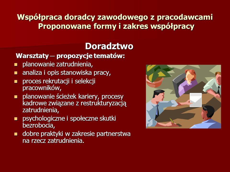 Współpraca doradcy zawodowego z pracodawcami Proponowane formy i zakres współpracy