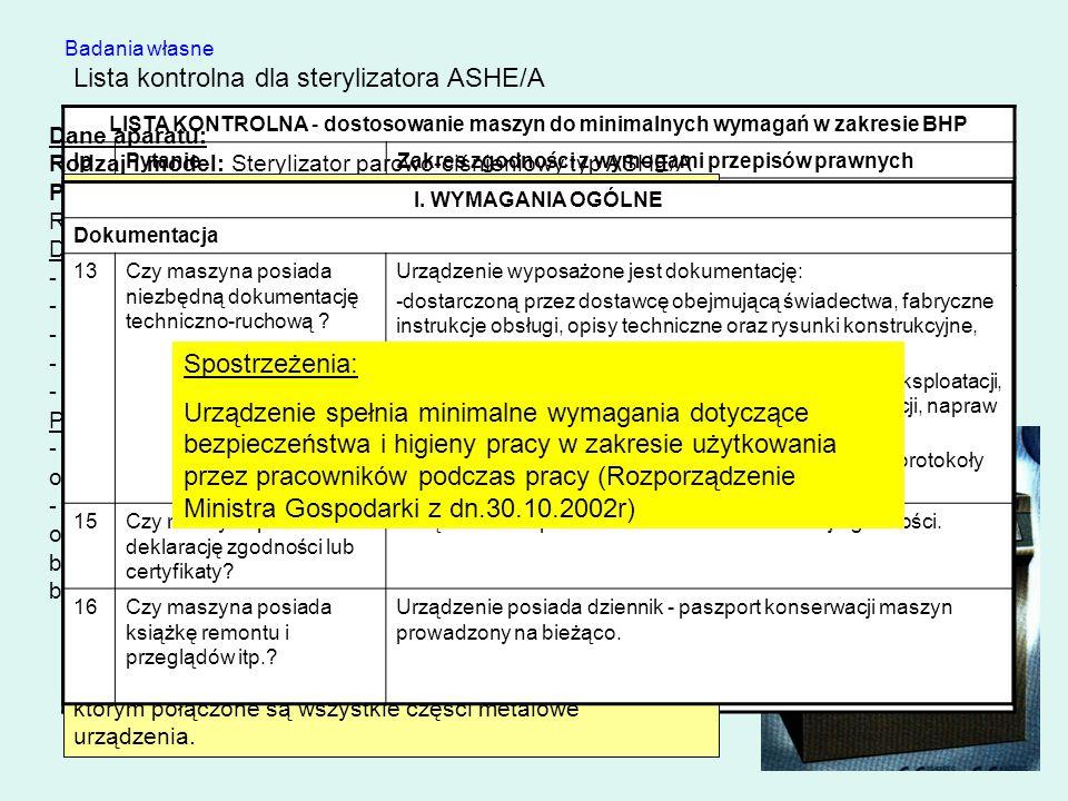 Lista kontrolna dla sterylizatora ASHE/A