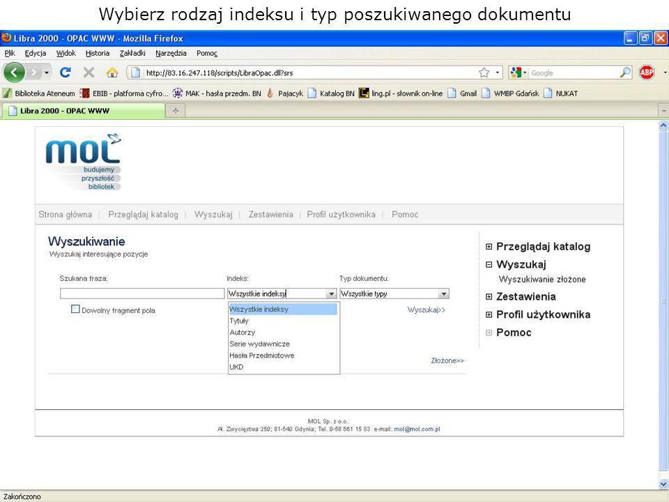 Wybierz rodzaj indeksu i typ poszukiwanego dokumentu