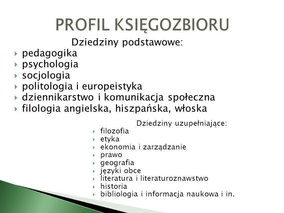 PROFIL KSIĘGOZBIORU Dziedziny podstawowe: pedagogika psychologia