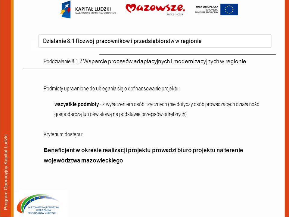 Działanie 8.1 Rozwój pracowników i przedsiębiorstw w regionie
