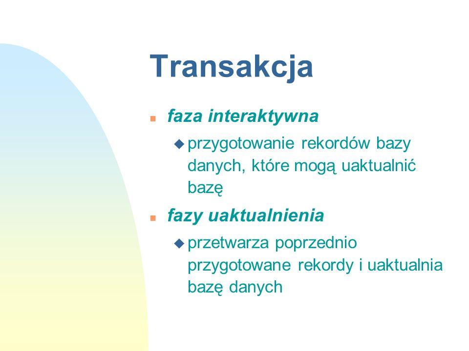 Transakcja faza interaktywna fazy uaktualnienia
