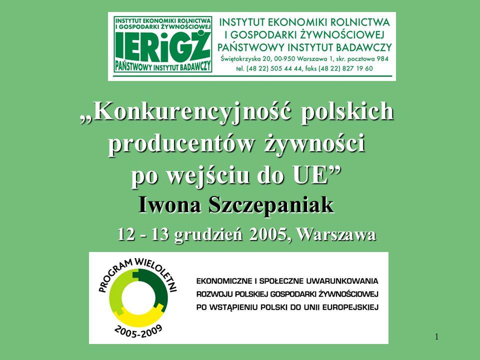 """""""Konkurencyjność polskich producentów żywności po wejściu do UE Iwona Szczepaniak"""