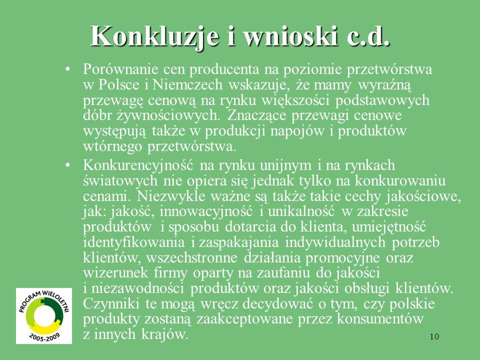 Konkluzje i wnioski c.d.